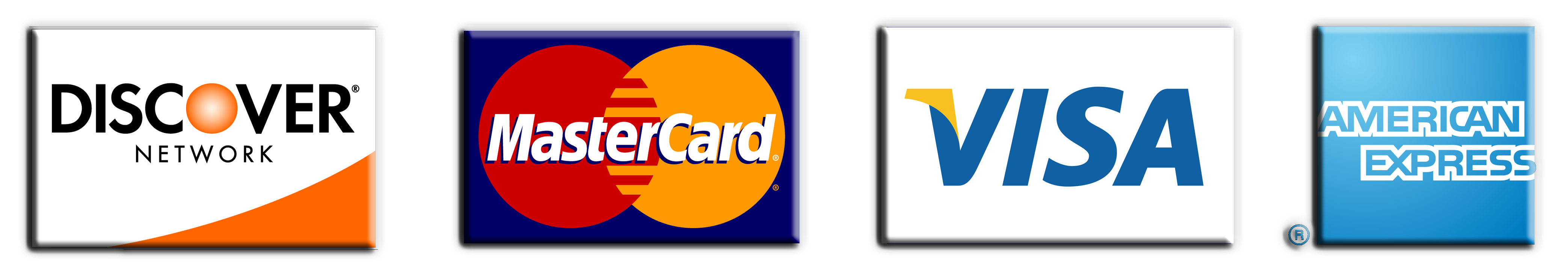 Accepts Discover, Mastercard , VISA and American Express Credit Card
